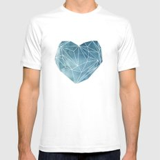 Heart Graphic Watercolor Blue White Mens Fitted Tee MEDIUM
