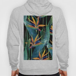 Watercolor Painting Tropical Bird of Paradise Plants large Hoody