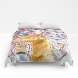 Happy alpacas watercolor Comforters