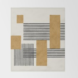 Stripes and Square Composition - Abstract Throw Blanket