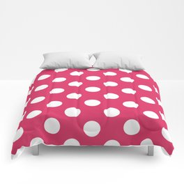 Cerise - fuchsia - White Polka Dots - Pois Pattern Comforters