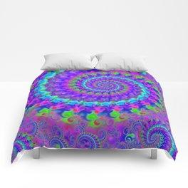 Funky Blue Fractal Pattern Comforters
