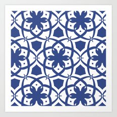 Pattern Print Edition 1 No. 1 (navy and white) Art Print