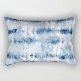 Modern hand painted dark blue tie dye batik watercolor Rectangular Pillow