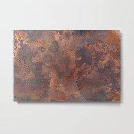 Tarnished, Stained and Scratched Copper Metal Texture Industrial Art Metal Print