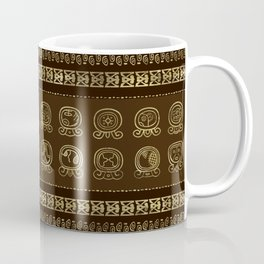 Maya Calendar Glyphs Gold on brown Coffee Mug