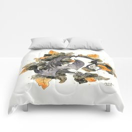 Dragon in Leaves Comforters
