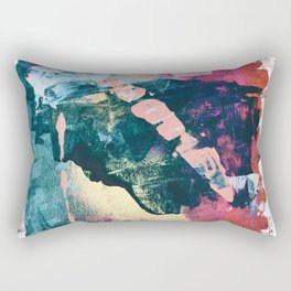 Taos: A vibrant abstract mixed-media painting in various colors by Alyssa Hamilton Art Rectangular Pillow