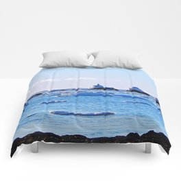 Snow Topped Boulders Comforters