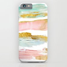 Pastel and gold strokes Slim Case iPhone 6