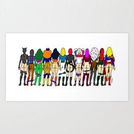 Superhero Butts - Girls - Row Version - Superheroine Art Print
