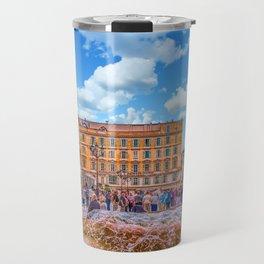 People in Nice Plaza with Fountain Travel Mug
