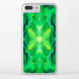 Brush play in hues of green 13 Clear iPhone Case