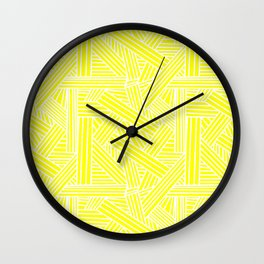 Sketchy Abstract (White & Yellow Pattern) Wall Clock