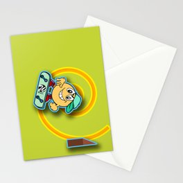 Skater Cartoon Character Looping over Green Background Stationery Cards