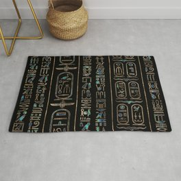 Egyptian hieroglyphs pattern Gold Abalone Rug
