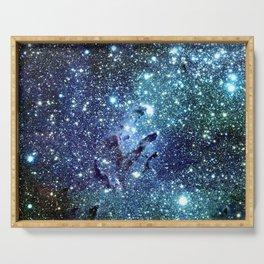 GalaxY Nebula Blue Teal Indigo Serving Tray