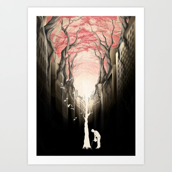 Revenge of the nature II: growing red forest above the city. Art Print