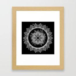 Bohemian Lace Paisley Mandala White on Black Framed Art Print