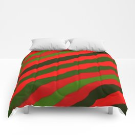 Merry Red Green Holiday Stripes Comforters