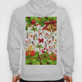 Holiday festive red green holly Christmas pattern Hoody