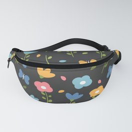 cute colorful spring pattern background with flowers, leaves and butterflies Fanny Pack