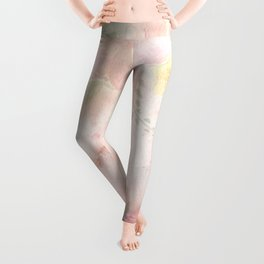 Watercolor Pink Floral Background Leggings
