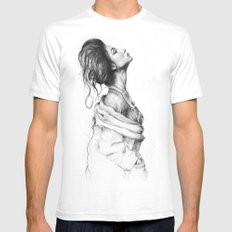 Pretty Lady Pencil Portrait Fashion Art LARGE White Mens Fitted Tee