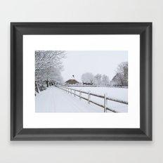 Farm House in the Snow Framed Art Print
