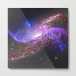 Spiral Galaxy Black Hole Galactic Space Fireworks Metal Print
