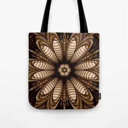 Abstract flower mandala with geometric texture Tote Bag