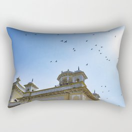 Pigeons Flying through the Sun in front of Chowmahalla Palace in Hyderabad, India Rectangular Pillow