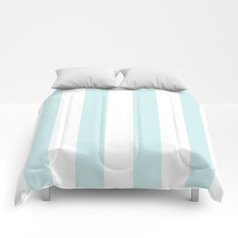 Vertical Stripes - White and Light Cyan Comforters