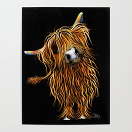 HIGHLAND COW PRINTS of Original SCOTTISH Painting  'CoooWeee on BLaCK ' SHIRLEY MACARTHUR Poster