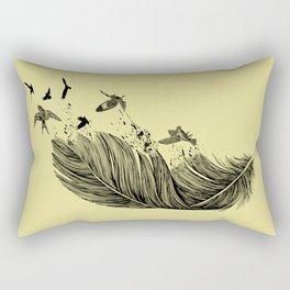 Feather Birds BW Rectangular Pillow