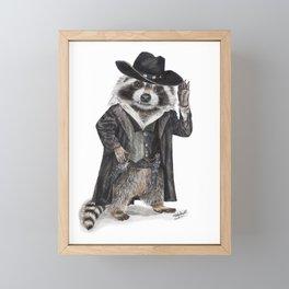 """ Raccoon Bandit "" funny western raccoon Framed Mini Art Print"