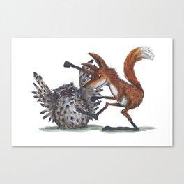 Owl & Fox dancing Canvas Print