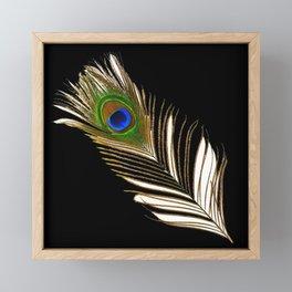 ART DECO PEACOCK FEATHER BLACK ART Framed Mini Art Print