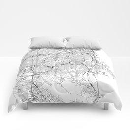 San Francisco White Map Comforters