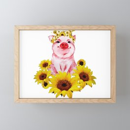 Cute Pig Sunflower Framed Mini Art Print
