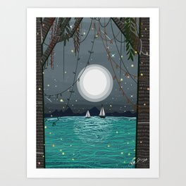 Adventures is Out there - Moonshine Lake  Art Print
