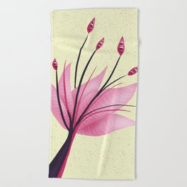 Pink Abstract Water Lily Flower Beach Towel