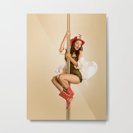 """Four-Alarm Flirt"" - The Playful Pinup - Firefighter Girl Pin-up by Maxwell H. Johnson Metal Print"