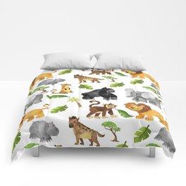 Safari Animals Pattern Watercolor Comforters