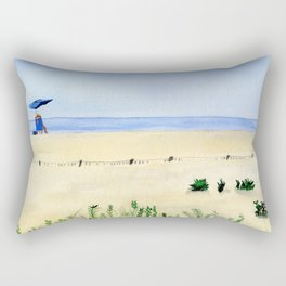 Assateague Island Watercolor Beach Painting Rectangular Pillow