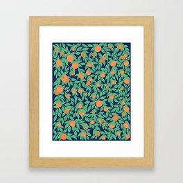 Oranges and Leaves Pattern - Navy Blue Framed Art Print