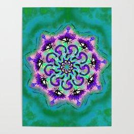 Spider Eye Mandala - Green BG Poster