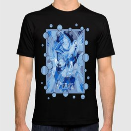 Dove With Celtic Peace Text In Blue Tones T-shirt