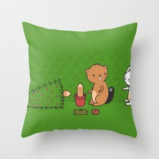 Beavers ruin Christmas Throw Pillow