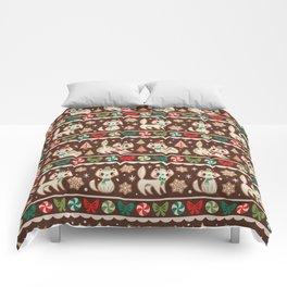 Striped Gingerbread Kitties (Brown) Comforters